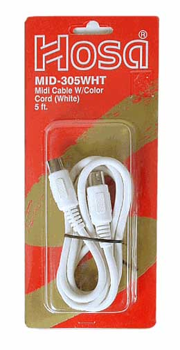 Hosa MID-305 5 foot MIDI White Cable